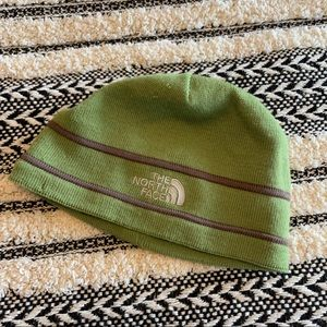 The north face green & brown wool beanie flawed